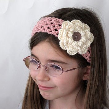 Crochet Pink Headband with Flower