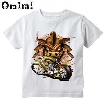 Hipster Punk Motorcycle Printed Children Casual T Shirt Boys and Girls Funny Tops Kids Great T-Shirt