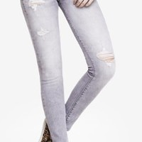 MID RISE GRAY DESTROYED JEAN LEGGING from EXPRESS