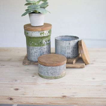 Set of 3 Repurposed Military Canisters With Mango Lids