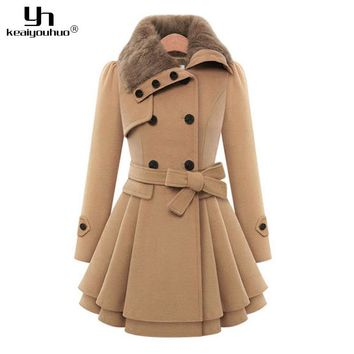 keaiyouhuo 2017 Autumn Winter Woman Long Wool Coat For Women Jackets Female Fur Collar Double-Breasted Long Sleeve Woolen Coats