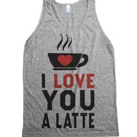 I love you a latte (Tank)-Unisex Athletic Grey Tank