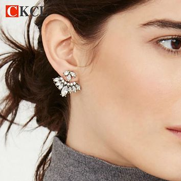 Antique Black Gold Plated Vintage Gothic Leave Crystal Stud Earrings Fashion Statement Cool Jewelry for Women