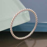 Very Thin Twisted Rope Sterling Silver Band Stacking Ring Shiny Finish