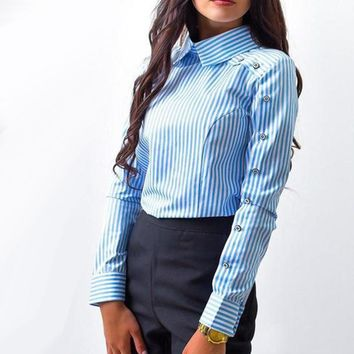 New Fashion Striped Button Casual Women tops and Blouses Long Sleeve Turn Down Collar Shirt Vintage OL Tops