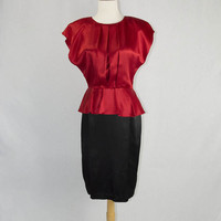 Vintage 80s Bombshell Peplum Wiggle Dress Red and Black by All That Jazz M