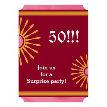 Modern Womans Fiftieth Birthday Party 5x7 Paper Invitation Card