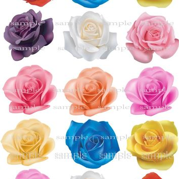 15 Big Real Rose Edible cake topper wafer rice paper for Wedding cake decoration Cupcake cookie topper Birthday party decor gift