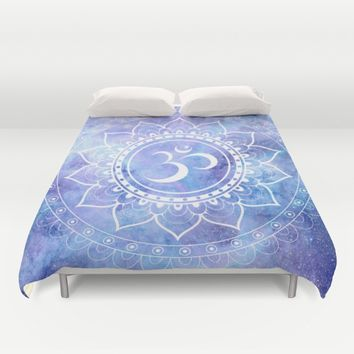 Om Mandala Lavender Perinwinkle Blue Galaxy Space Duvet Cover by 2sweet4words Designs