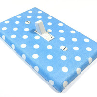 Sky Blue and White Polka Dots Light Switch Cover Teen Girls Bedroom Nursery Decor 858