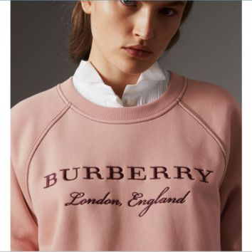 Burberry Fashion Women Pink Nude Color Long Sleece SweaterShirt B-ZY-CPKF
