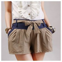 Color Block Bowknot shorts