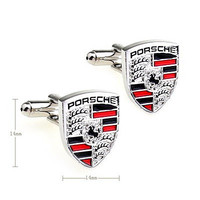 Mens Cufflinks, Novelty Porsche Car Logo Cufflinks for Men with Free Gift Box