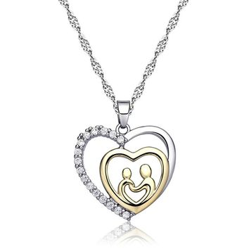 Women Necklaces Crystal Mother Child Love Heart Pendant Necklace Mom Family Jewelry Gift M8694
