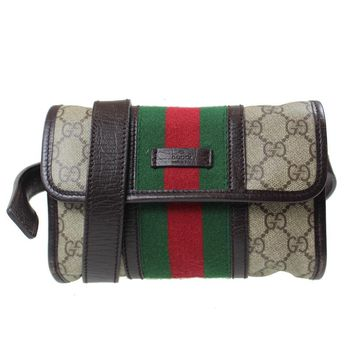 Gucci Gg Supreme Vintage Web Fanny Pack 5366 Brown Travel Bag (Authentic Pre-owned)