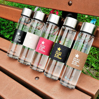 2016 Quality clear glass water bottle 450ML drinkware with tea infuser my drink protein shaker sports bottle lemon juice bottles