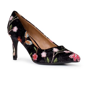 Black Embroidered Pump Shoe