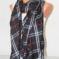 Plaid scarf-Blanket Scarf-Men scarf-Unisex Scarf-Pashmina scarf-Black Plaid Scarf-Pashmina-Plaid Pashmina-Mother days gift-gift for him