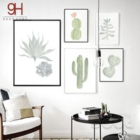 900D Watercolor succulent Canvas Art Print Painting Poster,  Cactus set Wall Pictures for Home Decoration,  Home Decor DE007