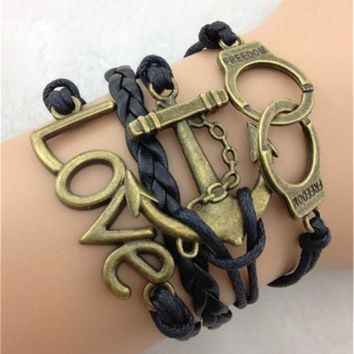Handcuffs Anchor Love Black Leather Bracelet
