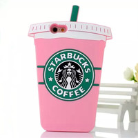 Pink 3D Starbuck Coffee Silicon Case For iPhone 4S 5S 6 6S Plus For Samsung Galaxy S3 S4 mini S5 S6 S7 edge Note 3 4 5 J5 A5 A7