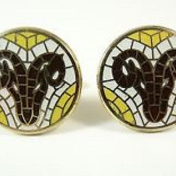 Anson Aries Ram Mosiac Cufflinks Vintage Designer Signed Men's Accessories