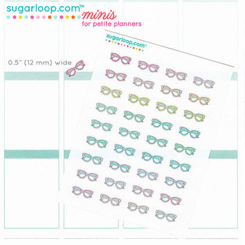 30 Reading glasses, spectacles, planner stickers, study, planner girl, book club, diary, calendar stickers, planning day, tv, GLS1