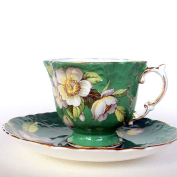 Vintage Aynsley Bone China Cup and Saucer, England,Quatrefoil, Emerald Green,Magnolias,1930s, Serving, Tea/Coffee, Hard to Find