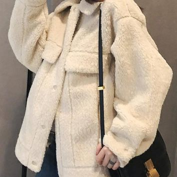 New Beige Fur Pockets Single Breasted Turndown Collar Long Sleeve Casual Coat