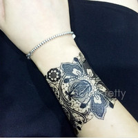 Random Delivery 1 Sheet Temporary Black Lace Henna Tattoo Fashion Sticker Waterproof Body Art Temporary Tattoo # 21765