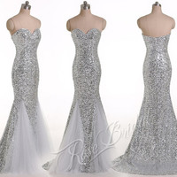 Silver sequined prom evening dresses with sweetheart neckline soft tulle below knee zipper back for prom or wedding party