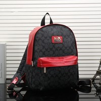 """Coach"" Fashion Casual Unisex Logo Print Multicolor Backpack Large Capacity Couple Travel Double Shoulder Bag"