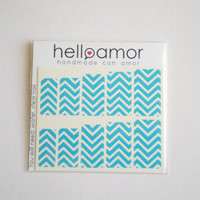 Blue and White Chevron Nail Decals