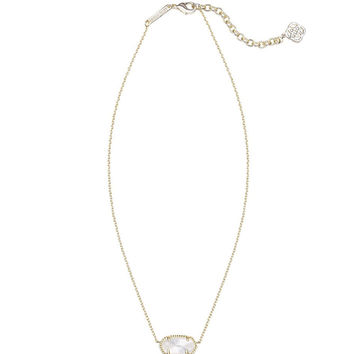 Kendra Scott Elisa Gold Pendant Necklace in Ivory Pearl 15 inch w/ 2 inch extender