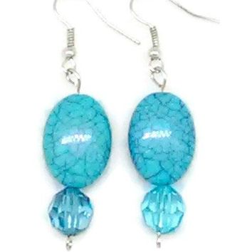 Blue Marbled Oval with Clear Blue Faceted Round Beaded Earrings