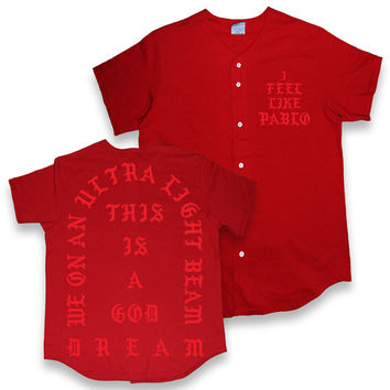 I Feel Like Pablo T Shirt. Kanye West Yeezsu Tour Baseball T Shirt. Cardinal Red Kanye Baseball Jersey T Shirt