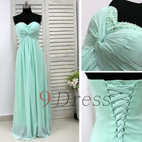 Mint Sweetheart beaded Long Prom Dress Lace-Up Back Bridesmaid Dress Party Dress Evening Dress Homecoming Dress Holiday Dress Formal Dress