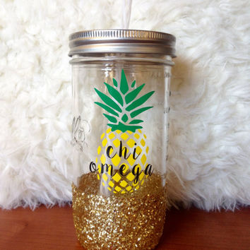 Personalized Pineapple Sorority Sparkly Mason Jar Tumbler-Chi Omega