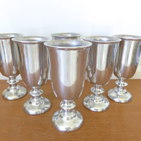 Set of six Wilton Armetale pewter look water goblets, shiny finish