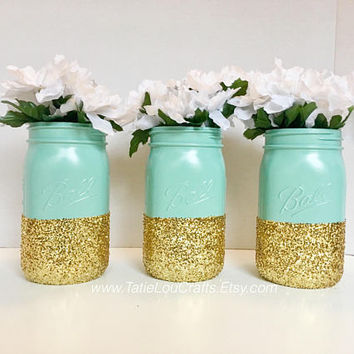 Set Of 3 Gold Dipped Mason Jars, Teal Jars, Wedding Centerpiece, Birthday Centerpiece, Bridal Shower Centerpiece, Baby Shower Centerpiece.
