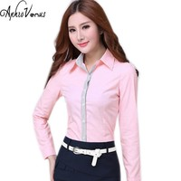 Women Blouse Autumn Office Lady Long Sleeve Shirt Plus Size Women Pink Work Wear Female Tops Slim Blusa Elegant Lady Tops Female