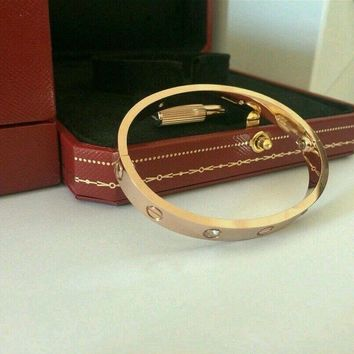 100% Authentic CARTIER Love 18k Rose Gold/4 Diamonds Bracelet Size 17 Bangle