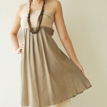 Wind of change Part II CreamBrown Cotton Dress by aftershowershop