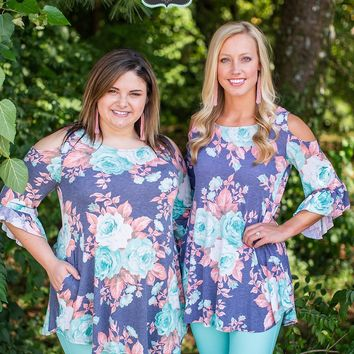 Gray & Mint Floral Blouse