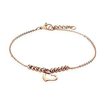 BodyJ4You Anklet Bracelet Beads Balls Heart Rose Goldtone Stainless Steel Body Fashion Jewelry
