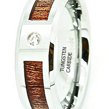 CERTIFIED 8MK Unisex Tungsten Carbide Wedding Band with Wood Grain Inlay