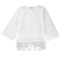 GB Girls Knit 3/4-Sleeve Fringe Top | Dillards.com