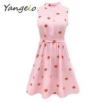 Japanese Mori Girl Strawberry Print Sleeveless Dress Kawaii Lolita Sweet Pink High Waist A Line Mini Dresses 2016 Summer New