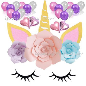 Unicorn Party Background Decoration Sleepy Unicorn Eyelash Ear Horn Accessories Paper Flowers Party Balloons for Kids Birthday