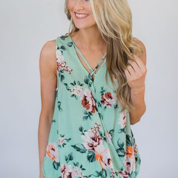 Keep A Secret Criss Cross Floral Wrap Top- Mint